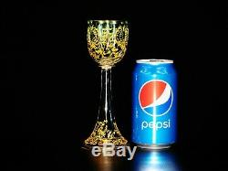 Antique Bohemian Gold Encrusted Enameled Moser Hand Painted Cordial Glass 7 1/8