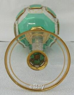 Antique Czech Bohemian Emerald Cabochon Listovane Crystal Glass Wine Stem