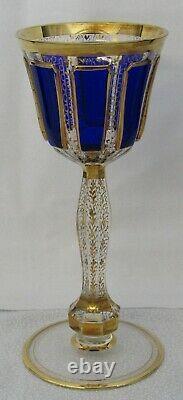 Antique Czech Bohemian Sapphire Blue Cabochon Listovane Crystal Glass Wine Stem