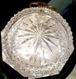 Antique French Baccarat Cut Crystal Bronze Serpentine Handle Wine Taster Bowl