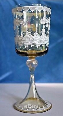 Antique Gold Murano Venetian Hand Painted Scene Crystal Wine Glass Set Salviati