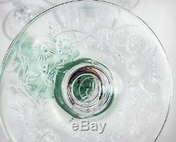 Antique Green Rock Crystal Cut 6 Webb Or Early American Mums Floral Wine Stems