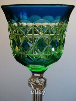 Antique Roemer Wine Glass Crystal Val Saint Lambert Blue Uranuim Vaseline