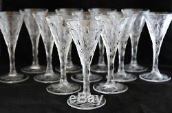 Antique Set 12 Moser Style Intaglio Engraved Cut Glass Crystal Wine Clarets