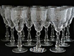 Antique Set 12 STEVENS & WILLIAMS Crystal Art Nouveau Floral Cut Wine Goblets