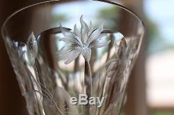 Antique Set 4 Moser Style Intaglio Engraved Cut Glass Crystal Wine Goblets
