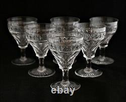 Antique Set 6 English Georgian Style Cut Crystal Wine Glasses