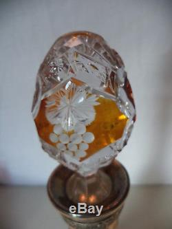 Antique VIntage Bohemia Czech Amber Cut to Clear Crystal Art Glass Wine Decanter