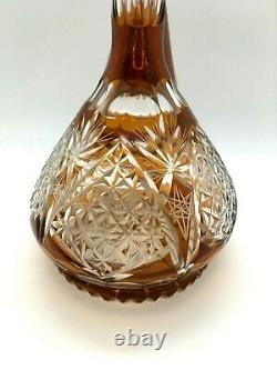 Antique Vintage Bohemian AMBER Crystal Cut to Clear PORRON Wine Decanter
