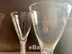 Antique Wine / cordial Glasses on Spiral Double Air Twist Stem Rare Set Of 4