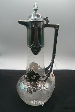 Art Nouveau Jugendstil 1904 WMF Silver Overlay Glass Wine Claret Pitcher WMFB