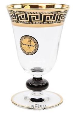 ArtDecor Greek Key, 30 Oz 7-pc Wine Glasses Goblets Crystal Decanter Set