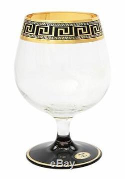 ArtDecor Greek Key, 7-pc Liquor, Cognac, Brandy Crystal Decanter Set, 24K Gold