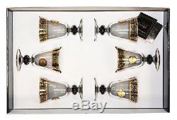 ArtDecor Greek Key, 8 Oz'Sofia' Wine Goblets Crystal Stem Glasses, 24K Gold