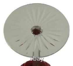 BACCARAT Crystal Set of 6 Cranberry Hock Wine Glass / Glasses 7 5/8