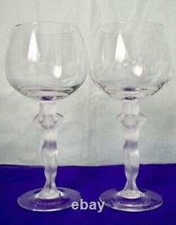 BAYEL France Crystal Frosted Nude Stem Red Wine Glasses Set of Nine
