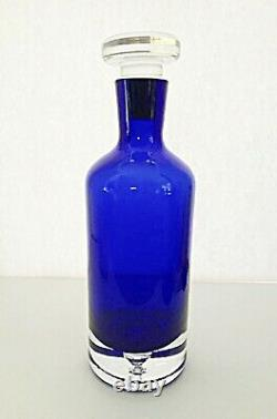BLOCK CRYSTAL Stockholm Cobalt Blue Wine Whiskey Decanter Bubble Base 11 Tall