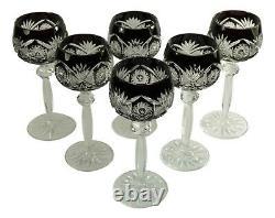 BOHEMIAN Crystal Set of 6 Black Hock Wine Glass / Glasses 8