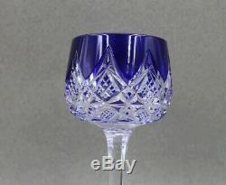 Baccarat Crystal Colbert Cobalt Blue 7 3/4 Rhine Hock Wine Sold Individually