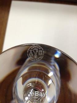 Baccarat Crystal Vega Burgundy 9 Wine Champagne 6 Ball Glass signed France