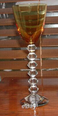 Baccarat Crystal Vega Rhine Wine Glasses / Topaz (yellow) 9 Mint