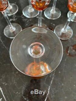 Baccarat Crystal Wine Glasses. Set Of 10. Amber/Orange