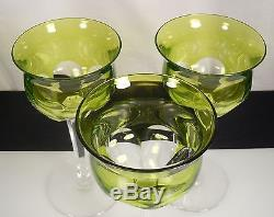 Baccarat Cut Crystal -Chartreuse Green- Genova 3 Hock Wine Goblets