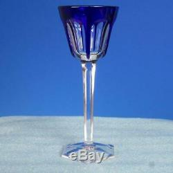 Baccarat France Crystal Harcourt Cobalt Blue Cut to Clear Rhine Wine Glass