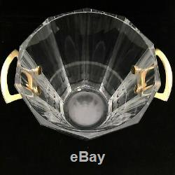 Baccarat Maxim Clear Crystal Champagne Wine Ice Bucket Gold Handles Tongs