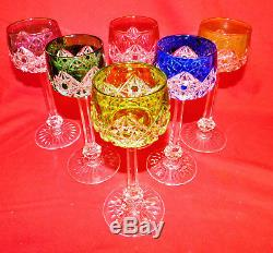 Baccarat Multi Color Cut To Clear Crystal Glass Wine Goblets 6