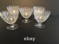 Baccarat Rohan Pattern Set of 5 Crystal Water Red Wine Glasses Goblets 4 In Tall