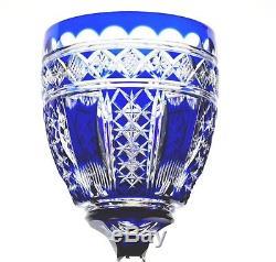 Baccarat Val St Lambert Cobalt Blue Cut to Clear Crystal Wine Goblet Vintage
