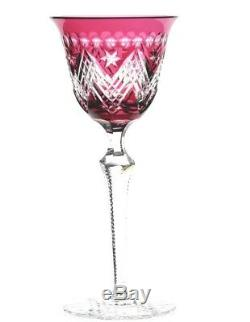 Baccarat Val St Lambert Cranberry Cut to Clear Crystal Wine Goblet Star of David