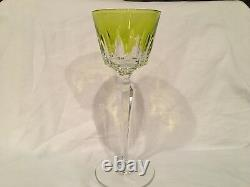 Baccarat Vintage Austerlitz Green(Chartreuse) Cut to Clear Rhine Wine Glasses(6)