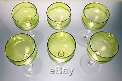 Baccarat or Val St Lambert Crystal 6 Chartreuse Wine Stems Wave Etch Art Deco A+