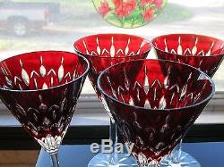 Beautiful Ajka Red Cut To Clear Crystal Wine Glass Goblet Set (4)