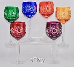 Beautiful Boxed New Old Stock Bohemian Cut Crystal Harlequin Wine Glasses 22.2cm