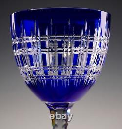 Beautiful Finely Cut Cobalt to Clear Crystal Wine Stem Baccarat Val St Lambert