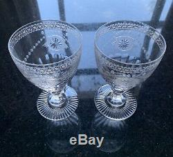Beautiful Pair Signed William Yeoward Pearl Crystal Goblets Large 6-1/4