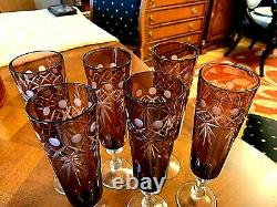 Beautiful Ruby Red Cut to Clear Crystal Glass Champagne Wine Goblet Set of 6