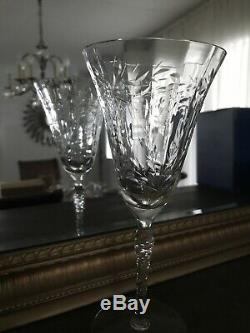 Beautiful Vintage Etched Clear Semi Crystal Wine Glasses Set of 7