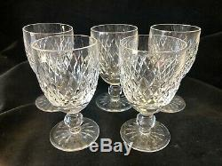 Beautiful Waterford Crystal Donegal Set of 5 x Wine Water Glasses 43/4 12cm