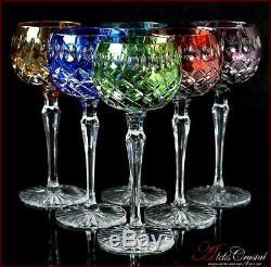 Bohemia Colored Crystal Wine Glasses 21 cm, 220 ml, Jasmine 6 pc New