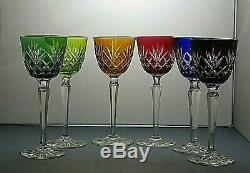 Bohemia Crystal Cut To Clear Wine Hock Glasses Set Of 6 7 3/4 Tall