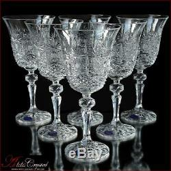 Bohemia Crystal Wine Glasses 20 cm, 220 ml, Cold Flowers 6 pc New