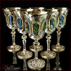 Bohemia Crystal Wine Glasses 20 cm, 220 ml, Versale Izumrud 6 pc New
