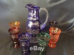 Bohemia crystal cut glass water, bier, wine set 6+1 multicolor