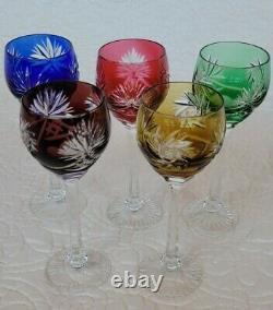 Bohemian Crystal Wine Glasses Goblets cut to clear (5) small German Czech