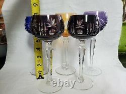 Bohemian Czech Asst. Color/Cut to Clear Long Stem Crystal Glasses Set of 5