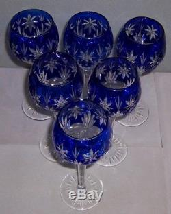 Bohemian Czech Cobalt Cut To Clear Crystal Wine Decanter & 6 Glasses